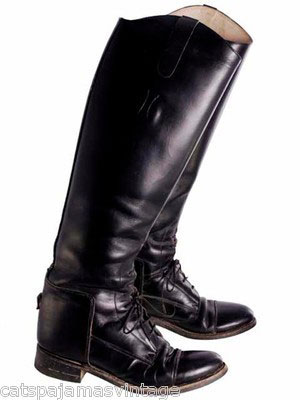 VINTAGE TALL BLACK LEATHER RIDING BOOTS