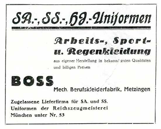 Hugo Boss advert for Nazi uniforms from 1933
