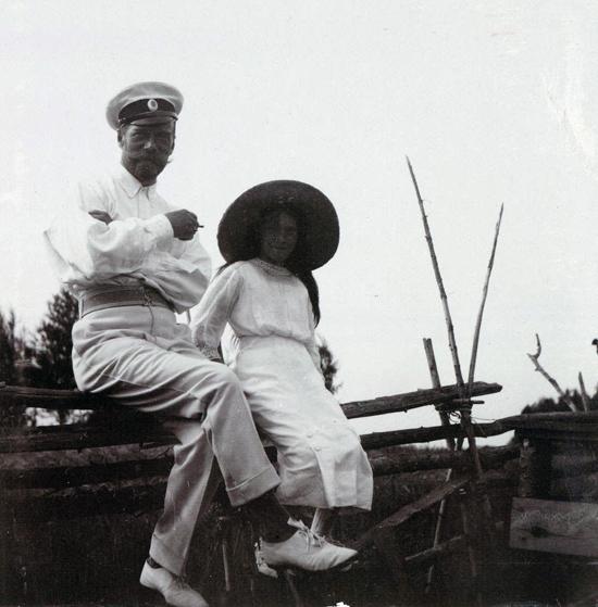 Tsar Nicholas II of Russia and his daughter Grand Duchess Anastasia Nikolaevna at Finnish archipelago, Imperial tennis park Virolahti