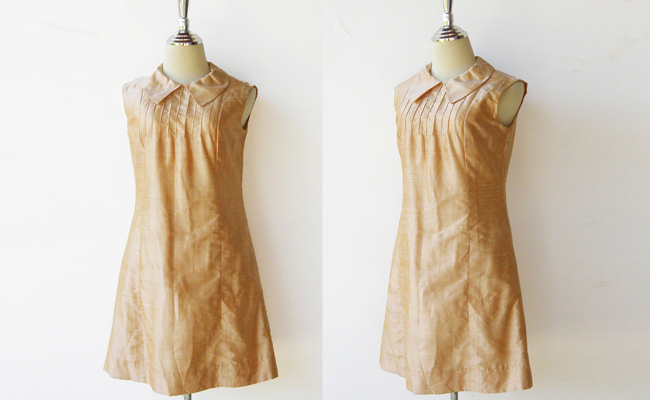 Vintage Late 1960s Golden Taffeta Cocktail Shift Dress