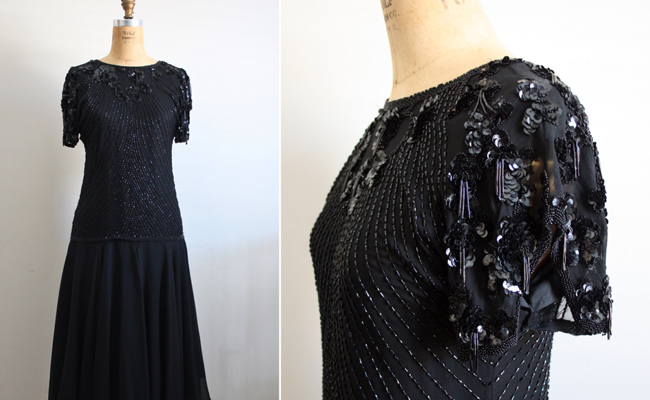 Vintage 80s Oleg Cassini Lace Beaded Dress