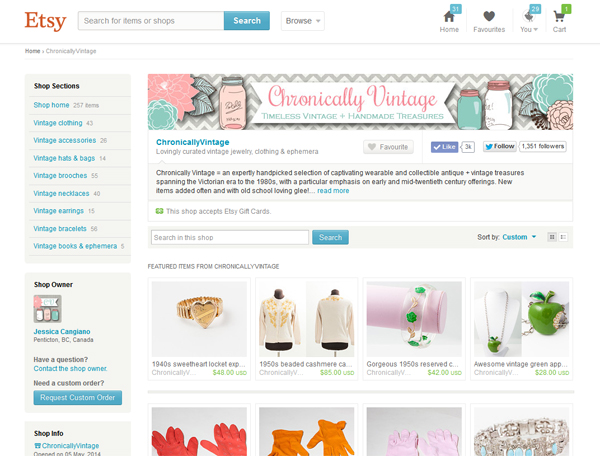 Etsy Store Chronically Vintage