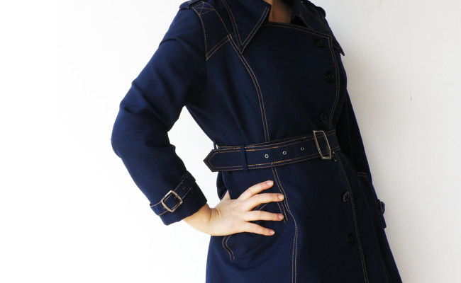 Vintage 1970s Navy Trench Coat