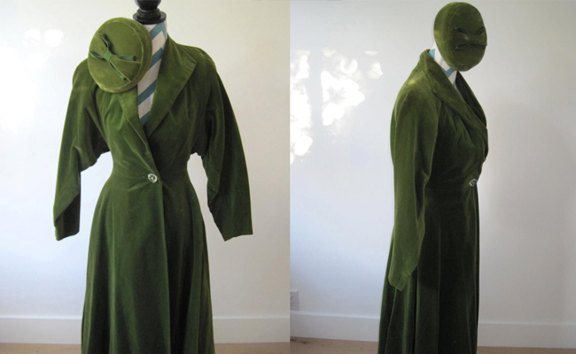 1950s Velvet Coat Dress Olive Green with Matching Velvet Pill Box Hat