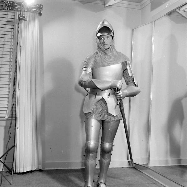 Ingrid Berman costume fitting for Joan of Arc