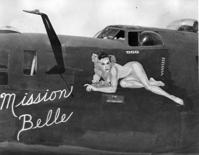 1940s nose art bomber airplane Mission Belle