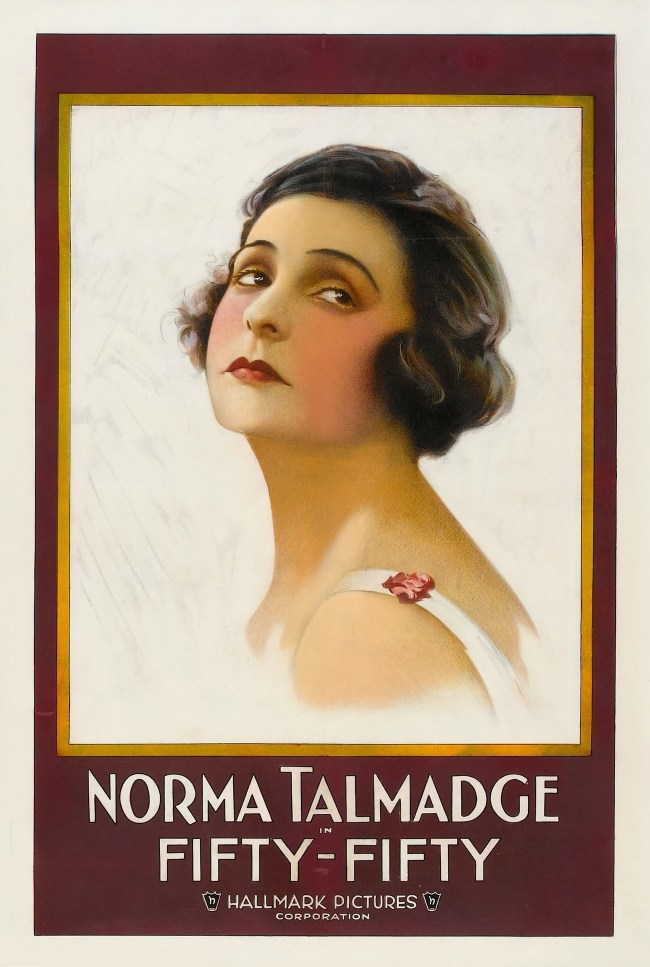 Movie Poster for the 1916 movie Fifty-Fifty starring Norma Talmadge