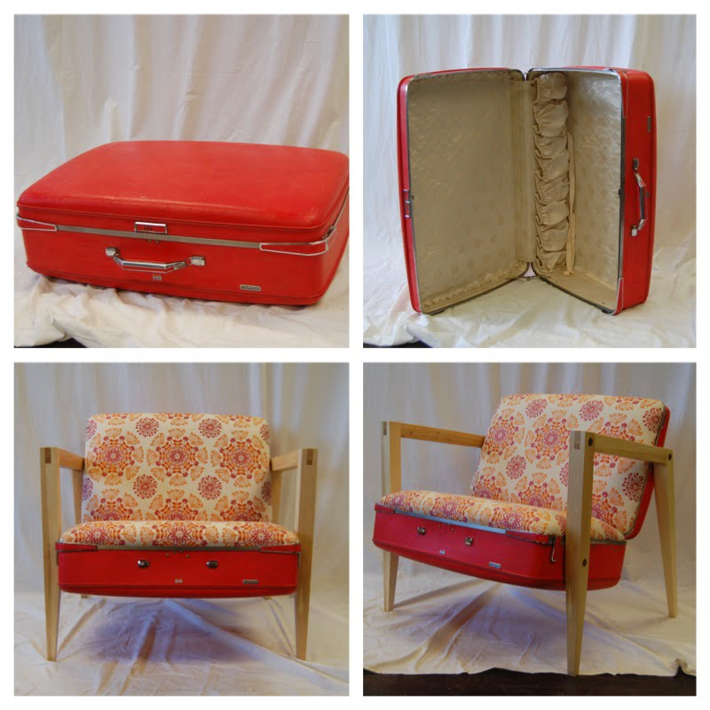 Custom Furniture MCM Chair Made From Vintage Suitcase