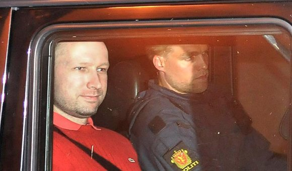 Breivik, smirking, after his arrest