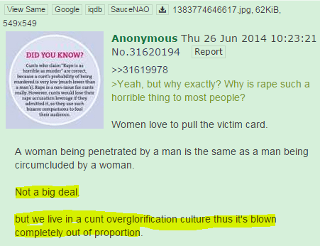 >Yeah, but why exactly? Why is rape such a horrible thing to most people?  Women love to pull the victim card.   A woman being penetrated by a man is the same as a man being circumcluded by a woman.   Not a big deal.  but we live in a cunt overglorification culture thus it's blown completely out of proportion.