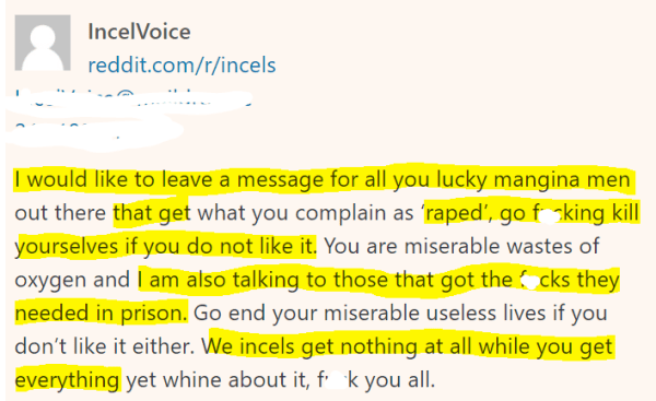 I would like to leave a message for all you lucky mangina men out there that get what you complain as 'raped', go fucking kill yourselves if you do not like it. You are miserable wastes of oxygen and I am also talking to those that got the fucks they needed in prison. Go end your miserable useless lives if you don't like it either. We incels get nothing at all while you get everything yet whine about it, fuck you all.
