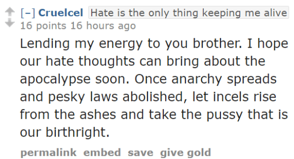 CruelcelHate is the only thing keeping me alive 16 points 16 hours ago Lending my energy to you brother. I hope our hate thoughts can bring about the apocalypse soon. Once anarchy spreads and pesky laws abolished, let incels rise from the ashes and take the pussy that is our birthright.