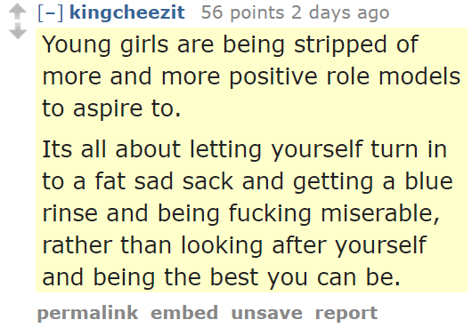kingcheezit 56 points 2 days ago Young girls are being stripped of more and more positive role models to aspire to. Its all about letting yourself turn in to a fat sad sack and getting a blue rinse and being fucking miserable, rather than looking after yourself and being the best you can be.