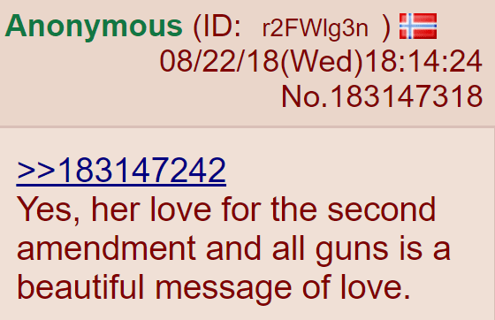 Yes, her love for the second amendment and all guns is a beautiful message of love.