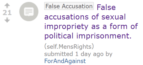 False accusations of sexual impropriety as a form of political imprisonment.