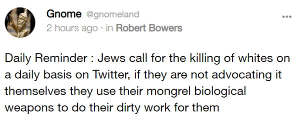 Gnome @gnomeland 2 hours ago · in Robert Bowers Daily Reminder : Jews call for the killing of whites on a daily basis on Twitter, if they are not advocating it themselves they use their mongrel biological weapons to do their dirty work for them