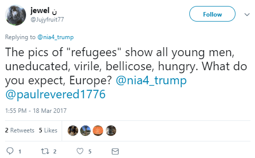 "jewel ن‎ ‏ @Jujyfruit77 Follow Follow @Jujyfruit77 More Replying to @nia4_trump The pics of ""refugees"" show all young men, uneducated, virile, bellicose, hungry. What do you expect, Europe? @nia4_trump @paulrevered1776"