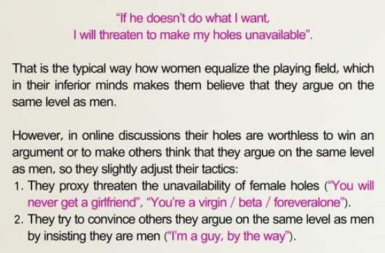 """If he doesn't do what !want, I will threaten to make my holes unavailable"""".  That's the typical way how women equalize the playing field, which in thew inferior minds makes them believe that they argue on the same level as men.  However, in online discussions their holes are worthless to win an argument or to make others think that they argue car the same level as men, so they slightly adjust their tactics: 1. They proxy threaten the unavailability of female holes CYou will never get a girlfriend"""", """"You're a virgin / beta / foreveralcce""""). 2. They byte connce others they argue on the same level as men by insisting they are men I"""" I'm a guy, by the way')."""