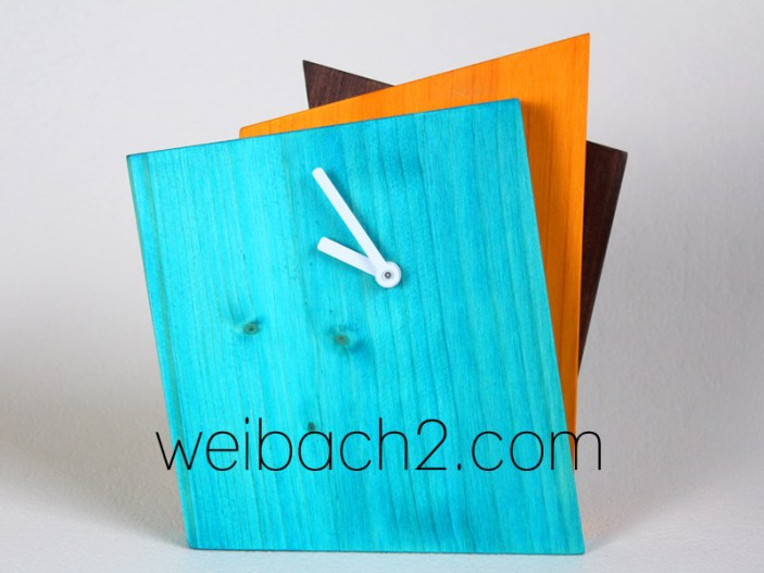 WEIBACH2 - Kantige Holz-Uhr / Edged wooden clock / 1