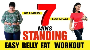 7 Mins Easy Standing Abs Workout For Beginners To Lose Belly Fat At Home | Belly Fat Exercises