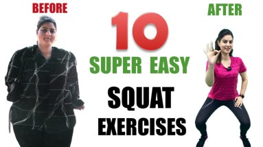 Most Powerful Exercise To Lose Lower Body Fat For Beginners | Easy Squat Exercises for Plus Size