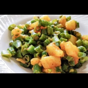 Oil free Green beans and potato sabji in 5 minutes