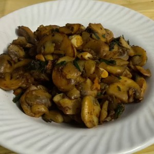 Quick and tasty mushroom with spring onion and garlic healthy recipe for weight loss