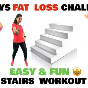 8 Mins Fun Stairs Workout  | Simple & Easy Cardio Workout At Home For Weight Loss - FOLLOW ALONG
