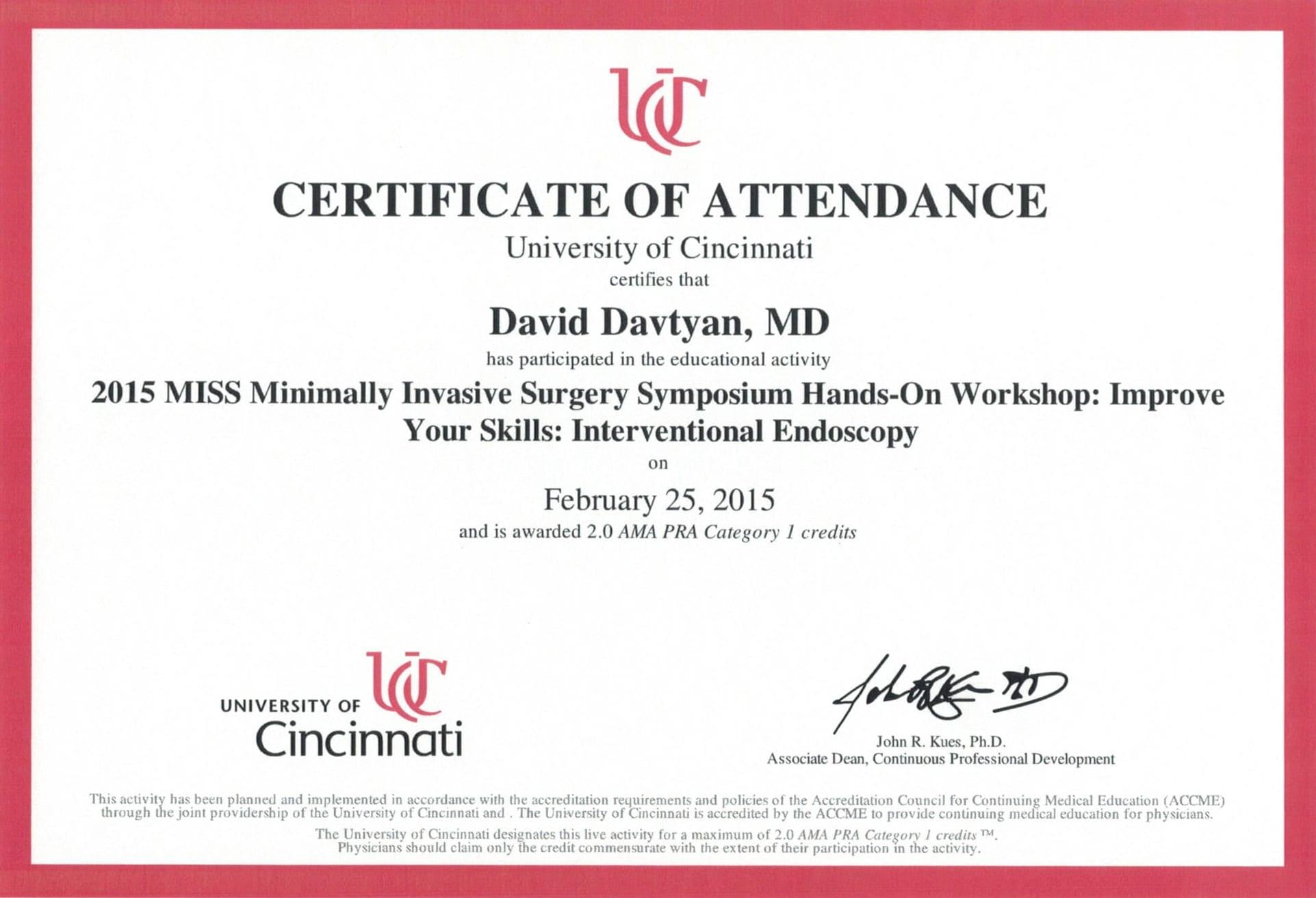 Dr. David Davtyan's 2015 University of Cincinnati MISS Minimally Invasive Surgery Symposium Certification Of Attendance
