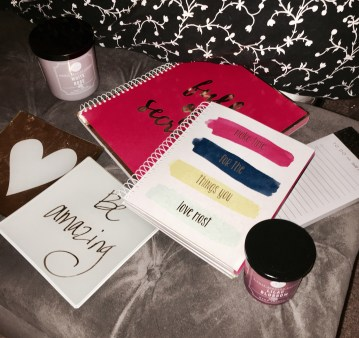 Staying organized with cute notebooks and calm with candles