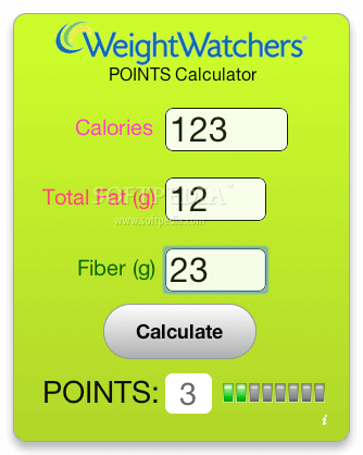WEIGHT WATCHERS OLD POINT CALCULATOR