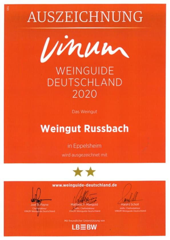 Auszeichnung des Vinum Weinguide Deutschland 2020 für das Weingut Russbach. Zwei Sterne.