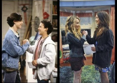 Shawn and Cory from Boy Meets World; Maya and Riley from Girl Meets World