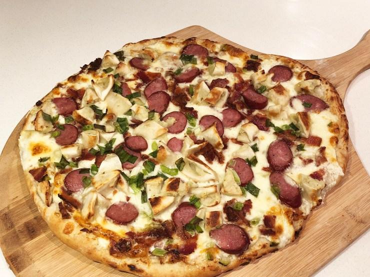 Pierogi Sausage Bacon Pizza