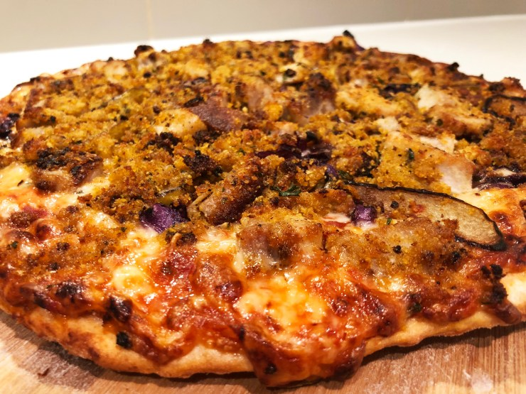 Blue Cheese Crusted Pork Chop Pizza