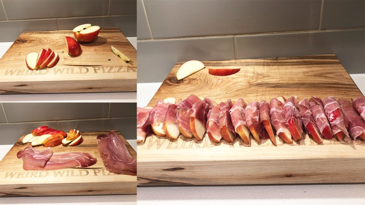 Prosciutto wrapped apples