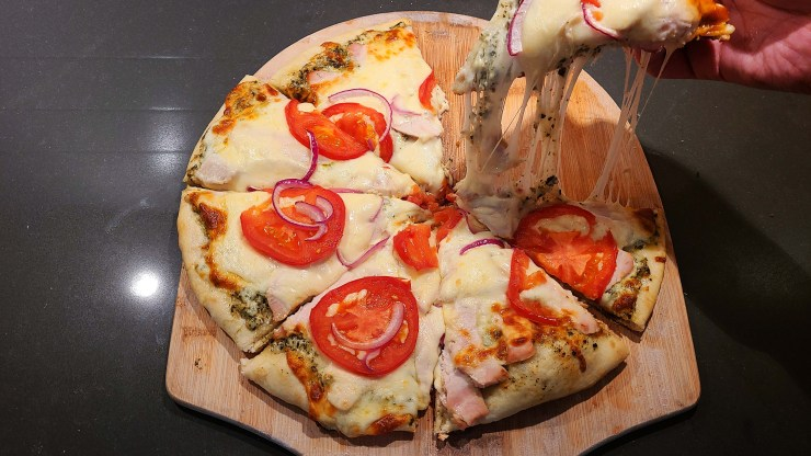 Turkey Provolone Pizza with Pesto Aioli