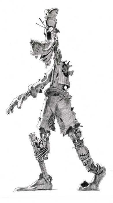 Epic Mickey Concept Art, a disturbing picture of goofy that almost looks like a zombie