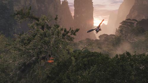 Avatar gun ship in sunset
