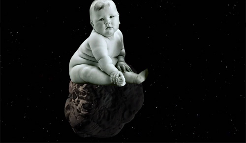 Baby riding on an asteroid