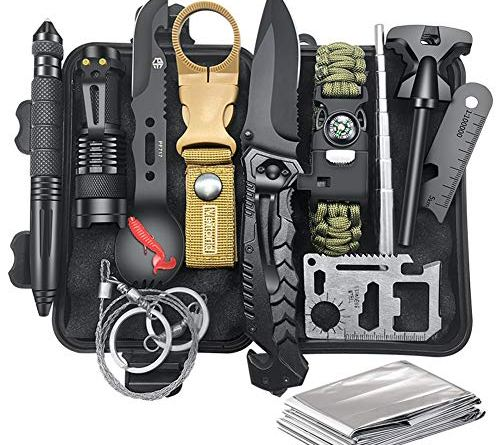 Gifts for Men Dad Husband, Survival Kit 12 in 1, Fishing Hunting Birthday Gifts Ideas for Him Boyfriend Teen Boy, Cool Gadget Christmas Stocking Stuffer, Survival Gear, Emergency Camping Hiking Gear