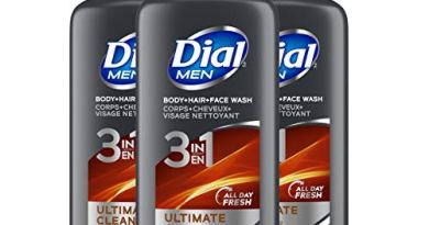 Dial Men 3 in1 Body, Hair and Face Wash, Ultimate Clean, 23 fl oz (Pack of 3)