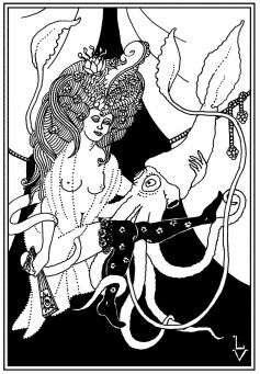 Squid Friend. This one as drawn by L. V. (Louis Verden), an artist found in VanderMeer's City of Saints and Madmen. Unpublished. I consider it too much of a pastiche of Beardsley, but I still get a kick out of its suggestion of untoward activities in Ambergris.