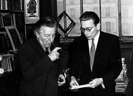André Breton and Radovan Ivšić in 1954, by Sperry Lea