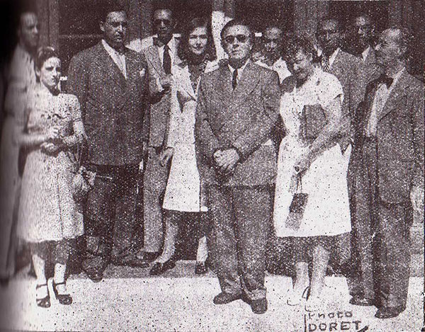 Alisa and André Breton at the Port-au-Prince airfield in December 1945. Paul Laraque (left of the Bretons), Mme. W. Lam, Dr. Pierre Mabille, le peintre Wilfredo Lam. On the right: René Bélance, Mme. Mabille, Regnor Bernard, Edris St. Armand and M. de Peillon, Ministre de France (photo from the Incomplete Works).