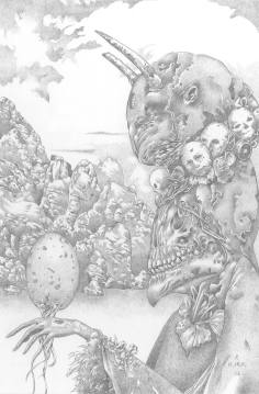 """Ptah, silverpoint, 2016, 9"""" x 6"""""""
