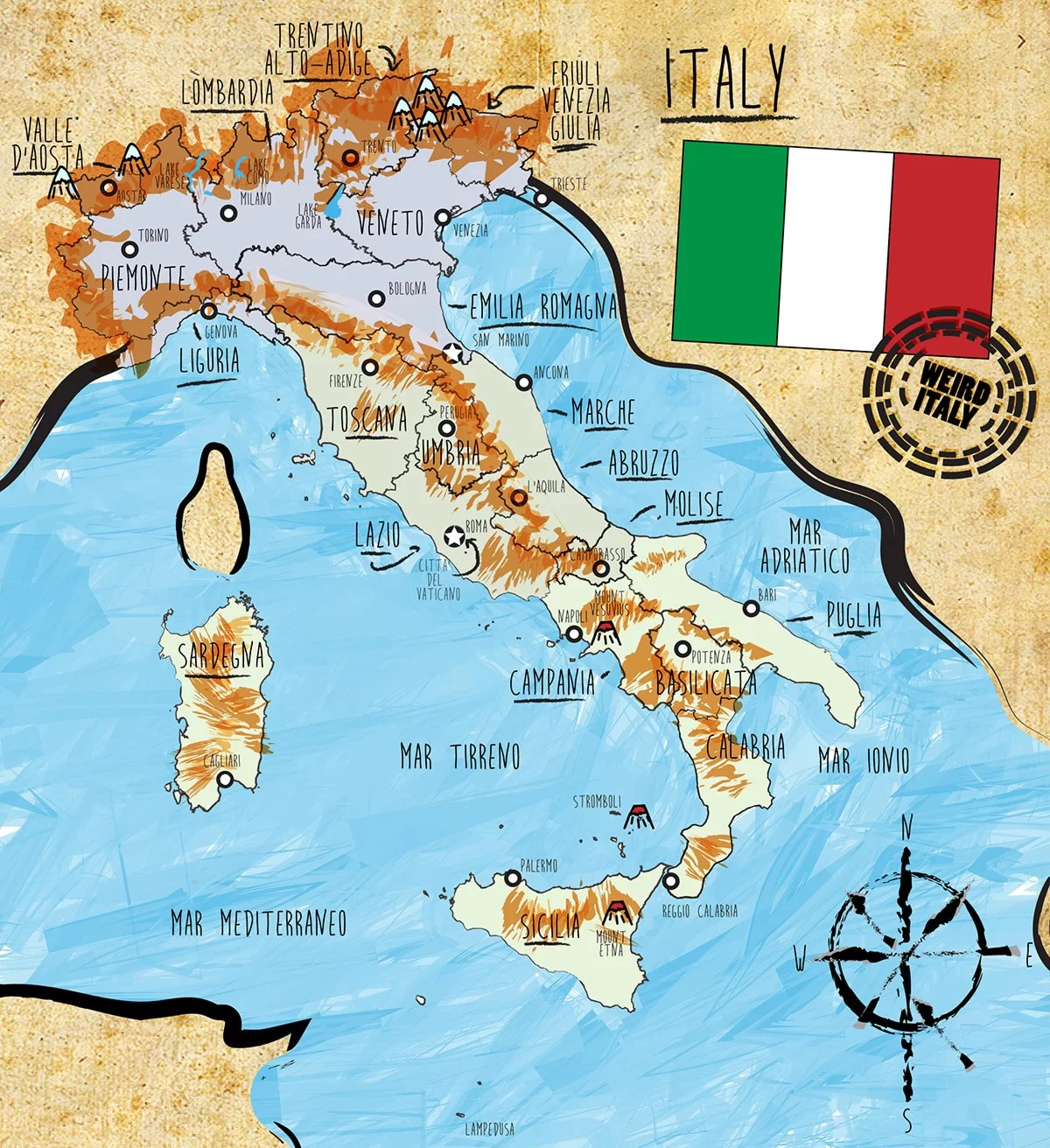 Italy Country Map and Statistics Weird Italy