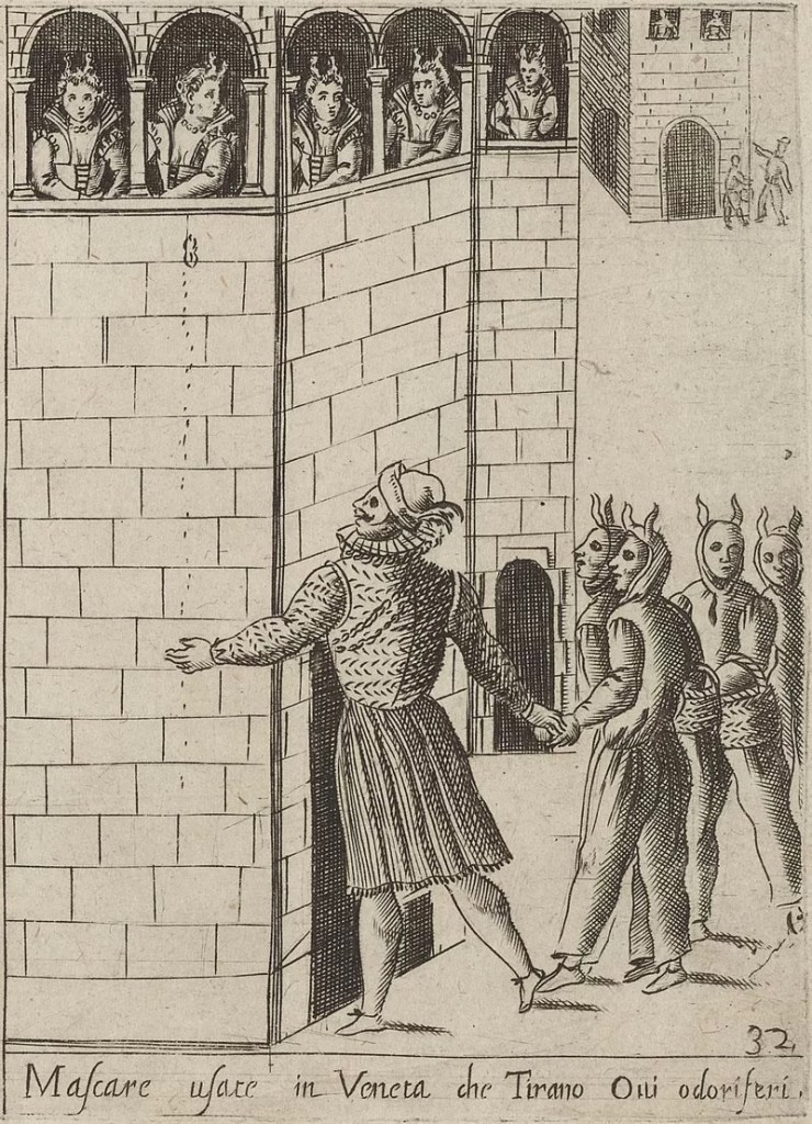 """This c. 17th-century etching shows five masked men, who are standing outdoors and holding eggs and baskets of eggs, looking up at five women, who are looking down at them from the windows of a building. The eggs are """"ovi odoriferi"""", or eggshells filled with rosewater perfume. These eggs were traditionally thrown during the Carnival of Venice."""