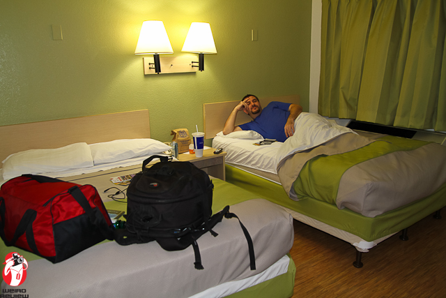 Mike Holman relaxes in our luxurious (Motel 6) suite