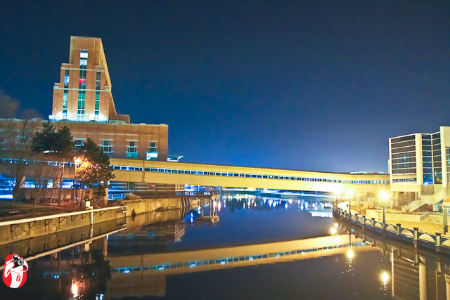 The Bridge spanning the Grand River that connects the Raddison Hotel and the Lansing Convention Center